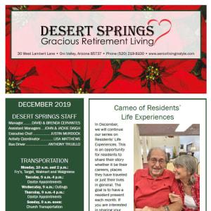 December Desert Springs Gracious Retirement Living newsletter