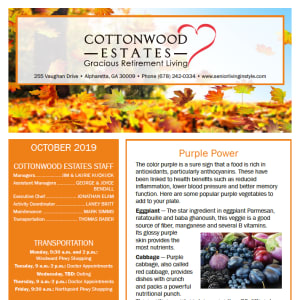 October Cottonwood Estates Gracious Retirement Living Newsletter