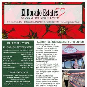 December El Dorado Estates Gracious Retirement Living newsletter