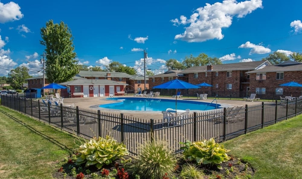 Sparkling pool at Knollwood Manor Apartments in Fairport, NY
