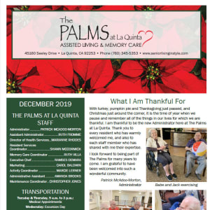 December The Palms at La Quinta Assisted Living and Memory Care newsletter