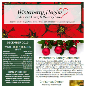 December Winterberry Heights Assisted Living and Memory Care newsletter