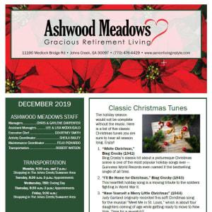 December Ashwood Meadows Gracious Retirement Living newsletter