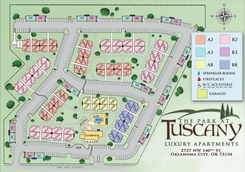 Site map for Park at Tuscany in Oklahoma City, Oklahoma