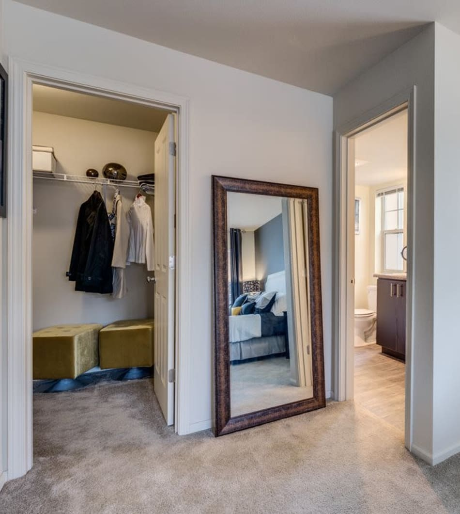 A spacious walk-in closet in a model home at Vue Issaquah in Issaquah, Washington