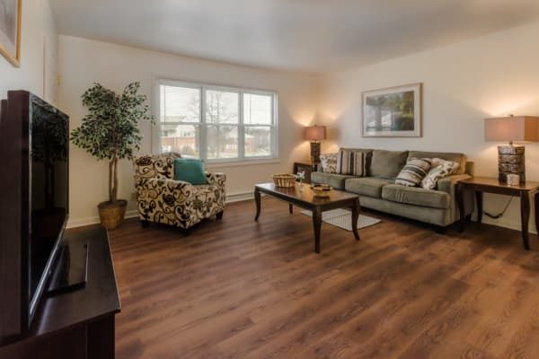 Cozy living room at Rochester Highlands apartments