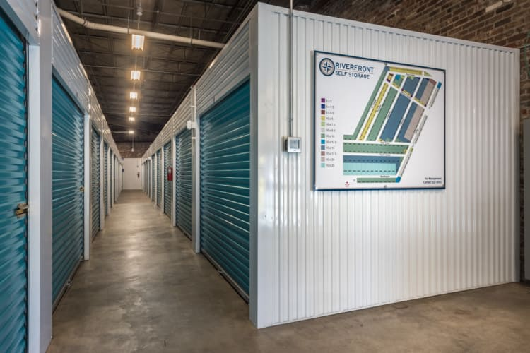 Hallway of storage units at Riverfront Self Storage in New Orleans, Louisiana