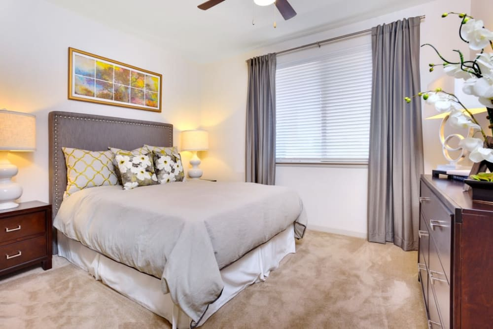 Beautifully decorated bedroom at The Parc at Greenwood Village in Greenwood Village, Colorado