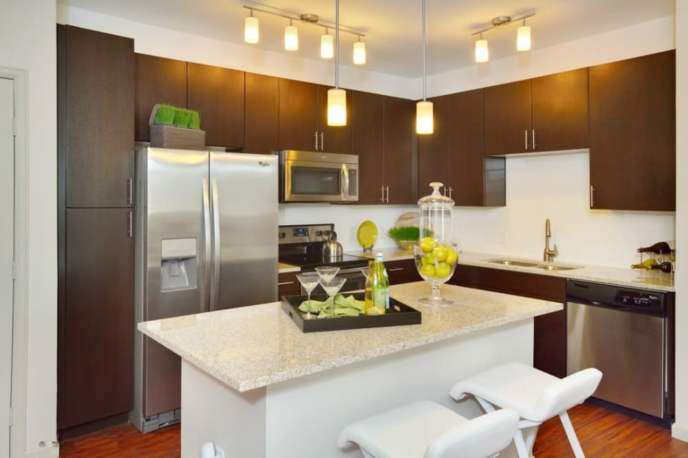 Apartment kitchen at The Parc at Greenwood Village in Greenwood Village, Colorado
