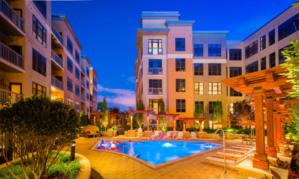 Resort-style swimming pool with sundeck at Solaire 10914 Georgia in Silver Spring, Maryland