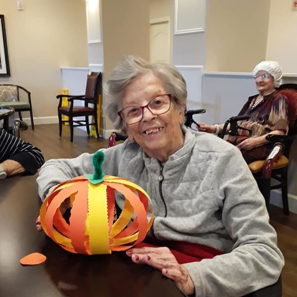 A resident made a pumpkin craft at Inspired Living Kenner in Kenner, Louisiana