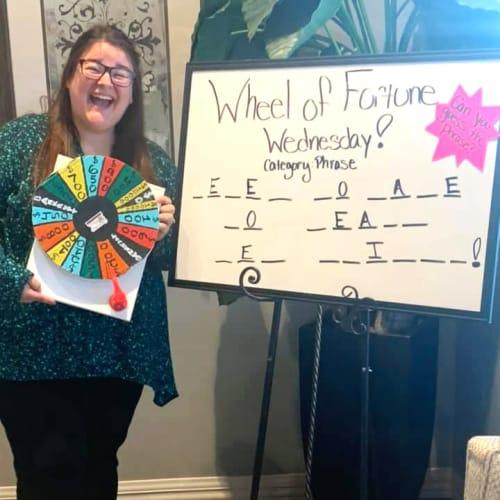 Wheel of fortune game at Oxford Villa Active Senior Apartments in Wichita, Kansas