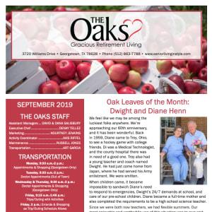 September The Oaks Gracious Retirement Living Newsletter