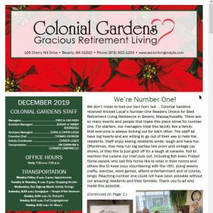 December Colonial Gardens Gracious Retirement Living newsletter