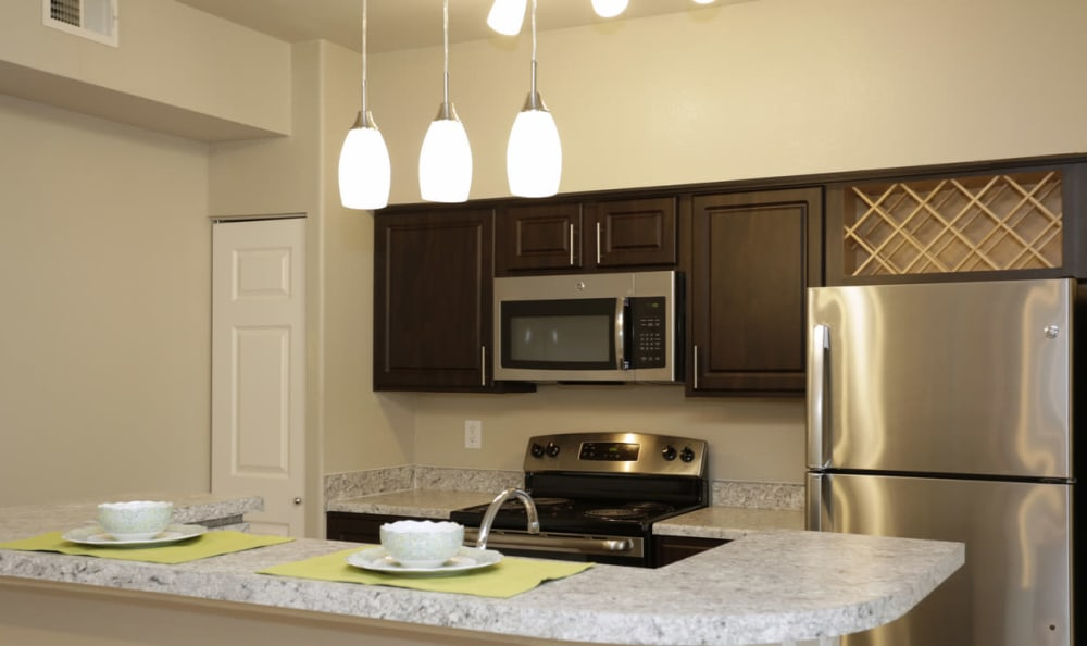 Kitchen at Springs at Live Oak Apartments