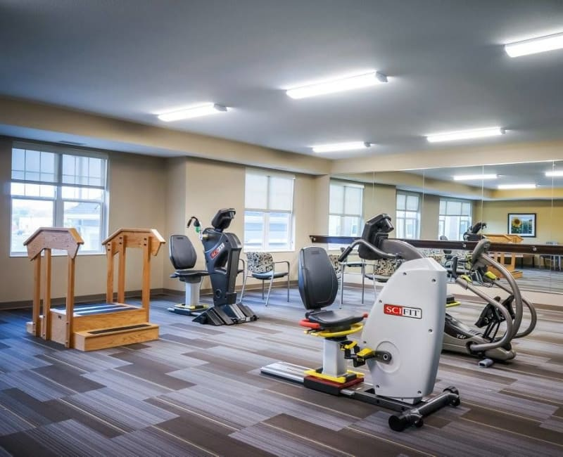 Fitness center with state-of-the-art equipment at The Sanctuary at West St. Paul in West St. Paul, Minnesota