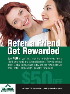 Refer a Friend poster from Global Self Storage in McCordsville, Indiana