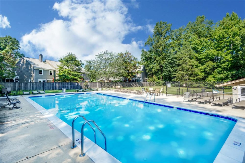 Sparkling swimming pool at Eagle Rock at Quiet Waters in Annapolis, Maryland