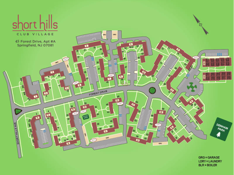 Map of Short Hills Club Village Campus