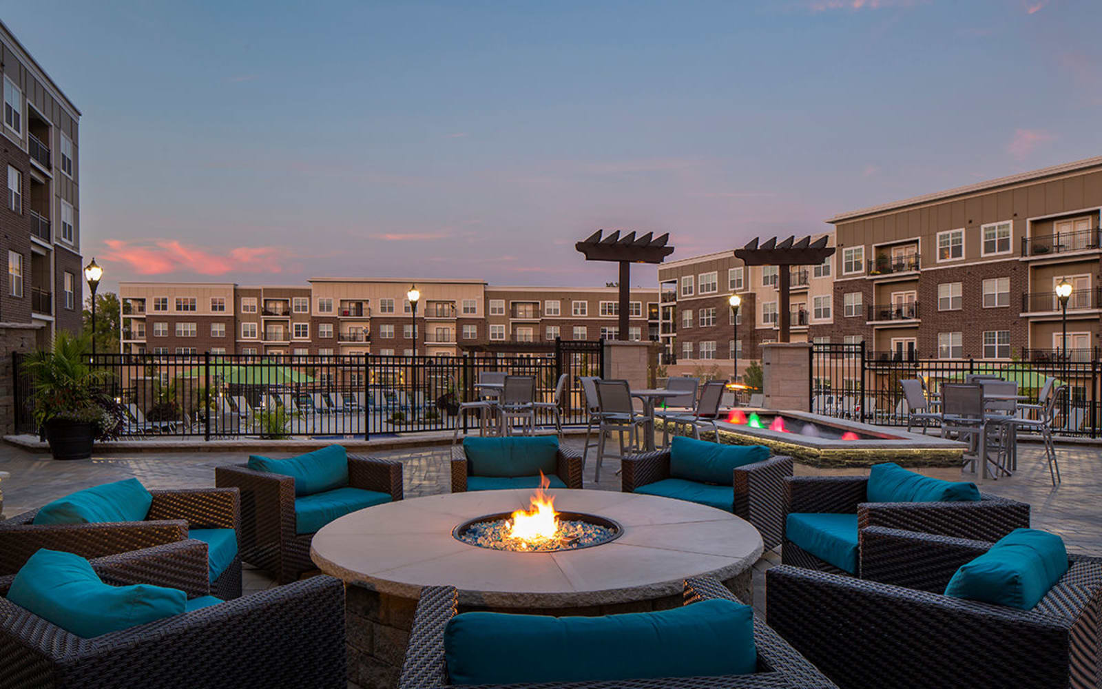 Patio at night at Allure Apartments in Centerville, Ohio