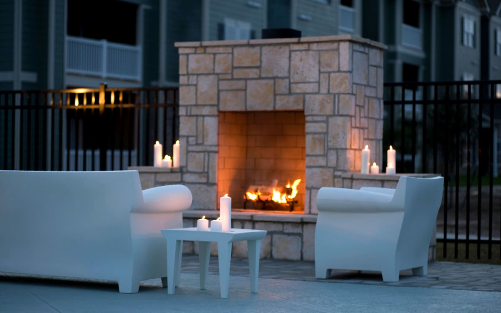Outdoor fireplace at Plantation Crossing in Lafayette, Louisiana.