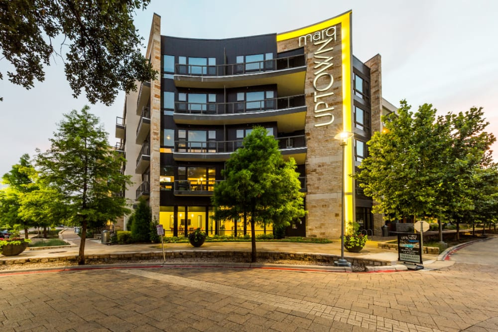 Main entrance street view of Marq Uptown in Austin, Texas