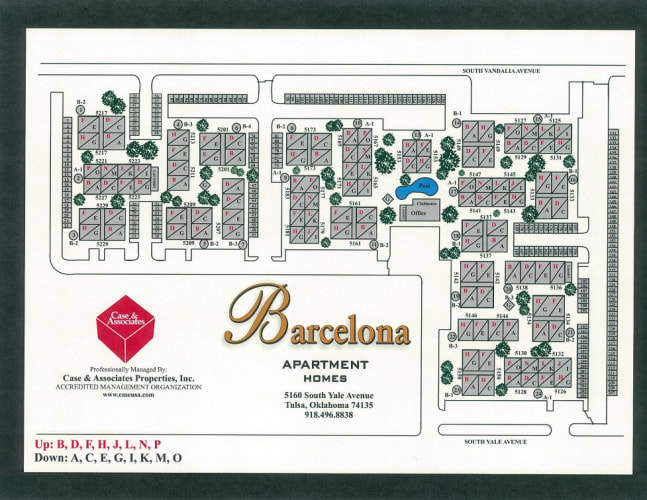 Site map for Barcelona Apartments in Tulsa, Oklahoma