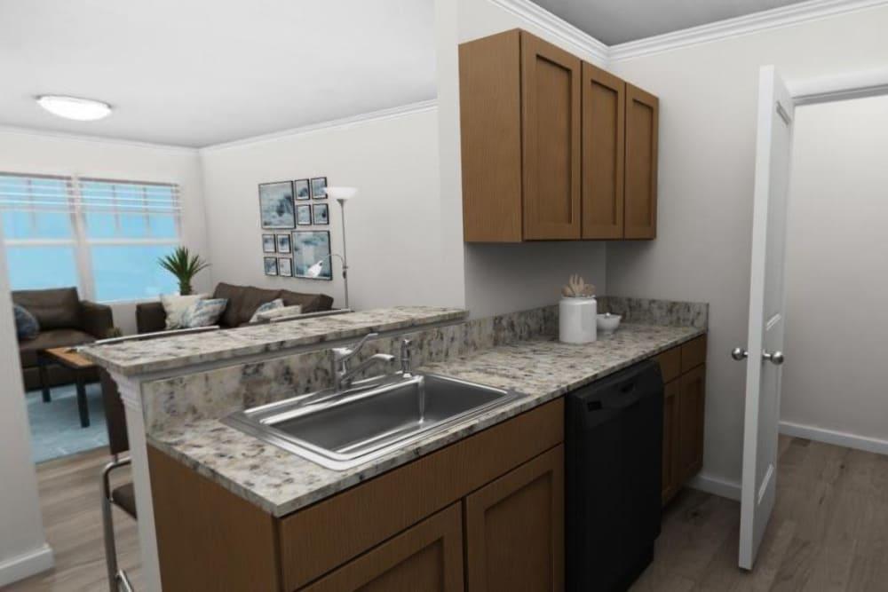 Kitchen and living room at The Flatts Salisbury in Salisbury, Maryland