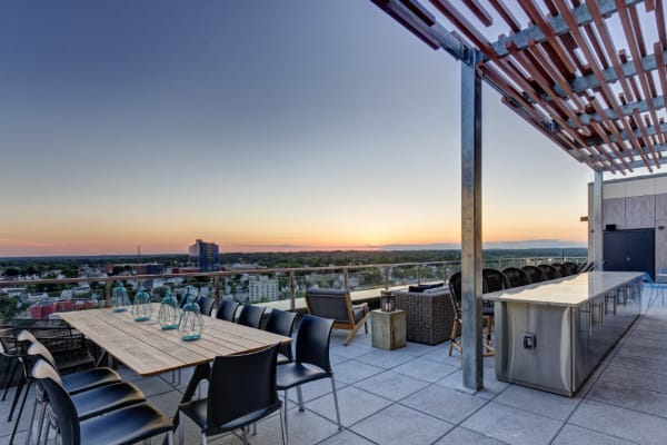 A posh rooftop lounge at Vela on the Park