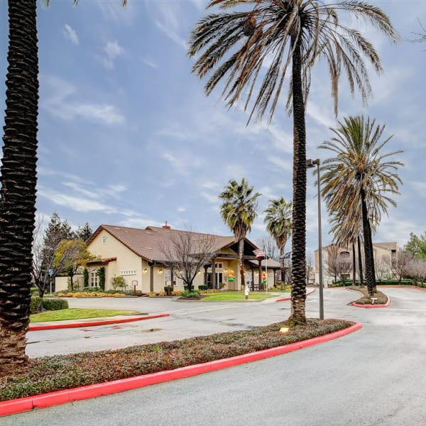 Front entrance to Laguna Creek Apartments community in Elk Grove, California