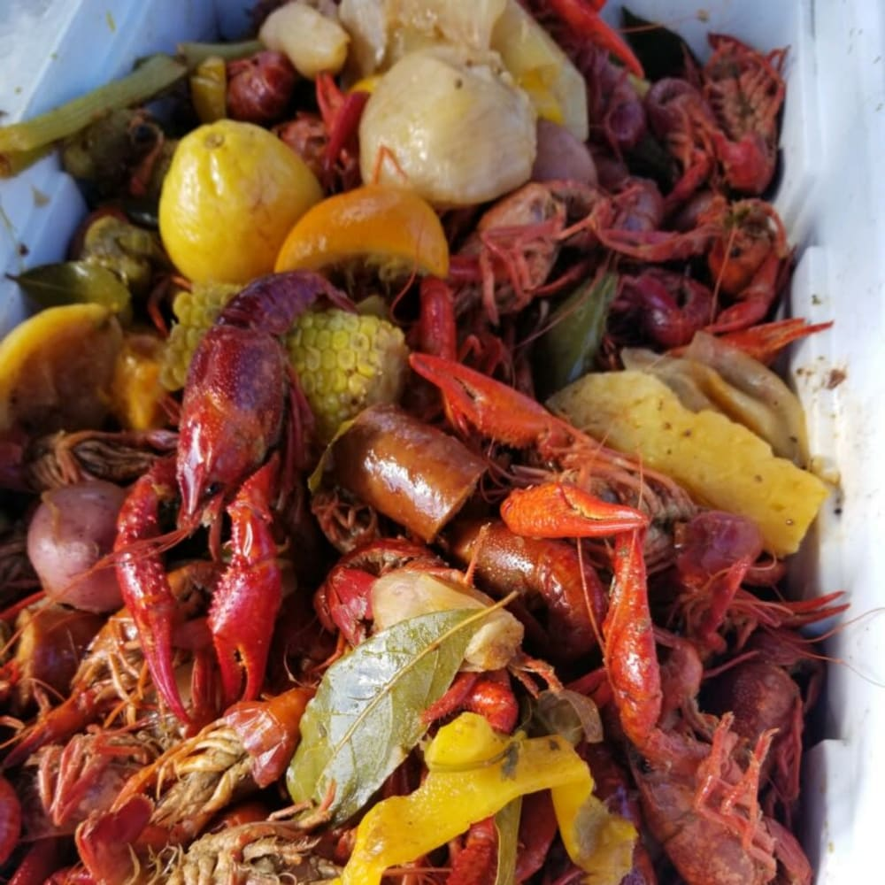 A Crawfish boil at Inspired Living Lewisville in Lewisville, Texas
