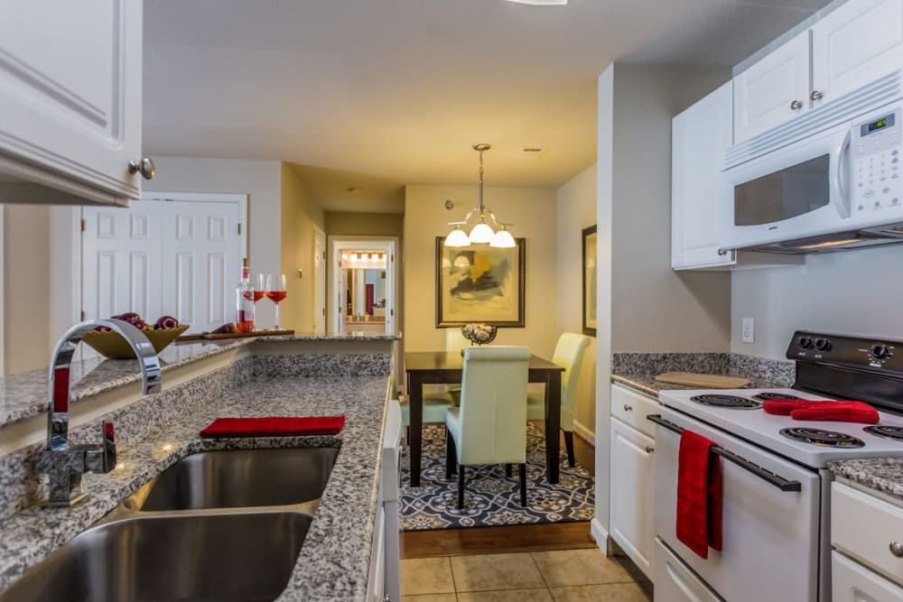 Full kitchens at River Pointe in North Little Rock, Arkansas.