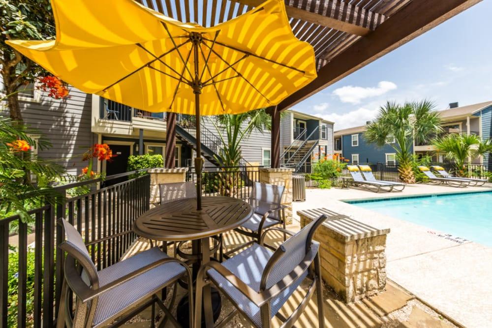 Gazebo area near lounge pool at Austin Midtown in Austin, Texas