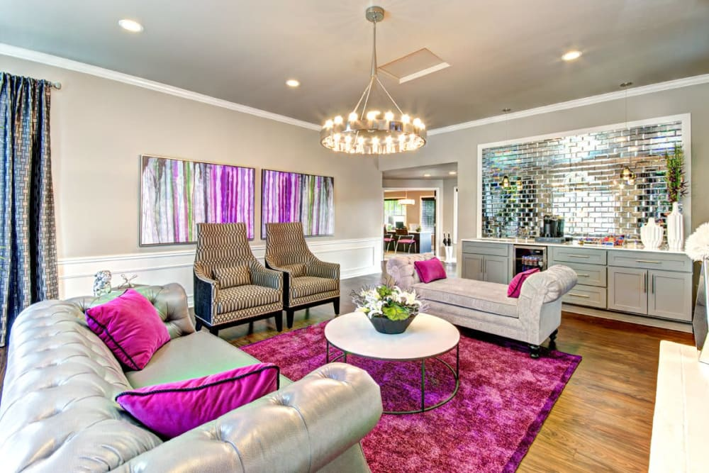 Inside of the stylish and comfortable community clubhouse at Wellington Apartment Homes in Silverdale, Washington