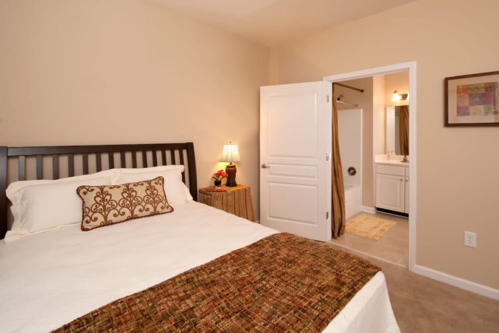 A large bedroom with a master bathroom at Meridian Watermark in North Chesterfield, Virginia