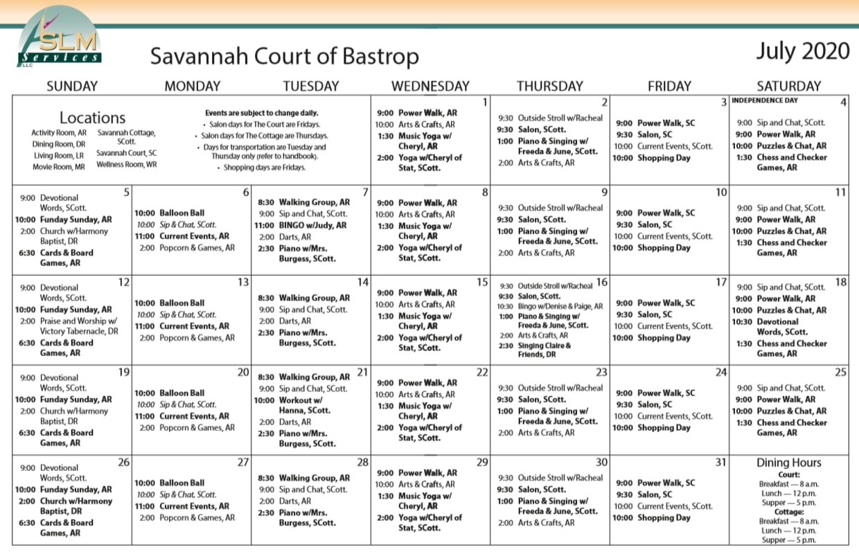 View our monthly calendar of events at Savannah Court of Bastrop