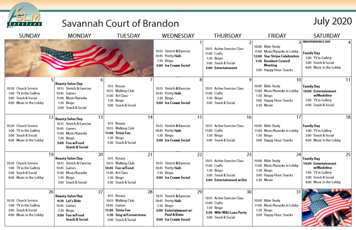 View our monthly calendar of events at Savannah Court of Brandon