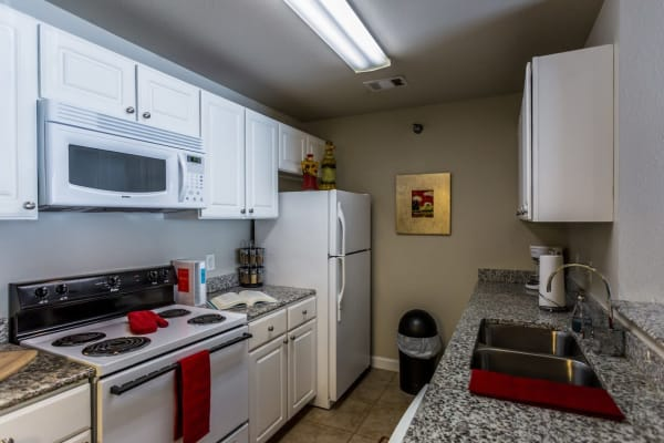 Kitchen with plenty of storage space at River Pointe in North Little Rock, Arkansas