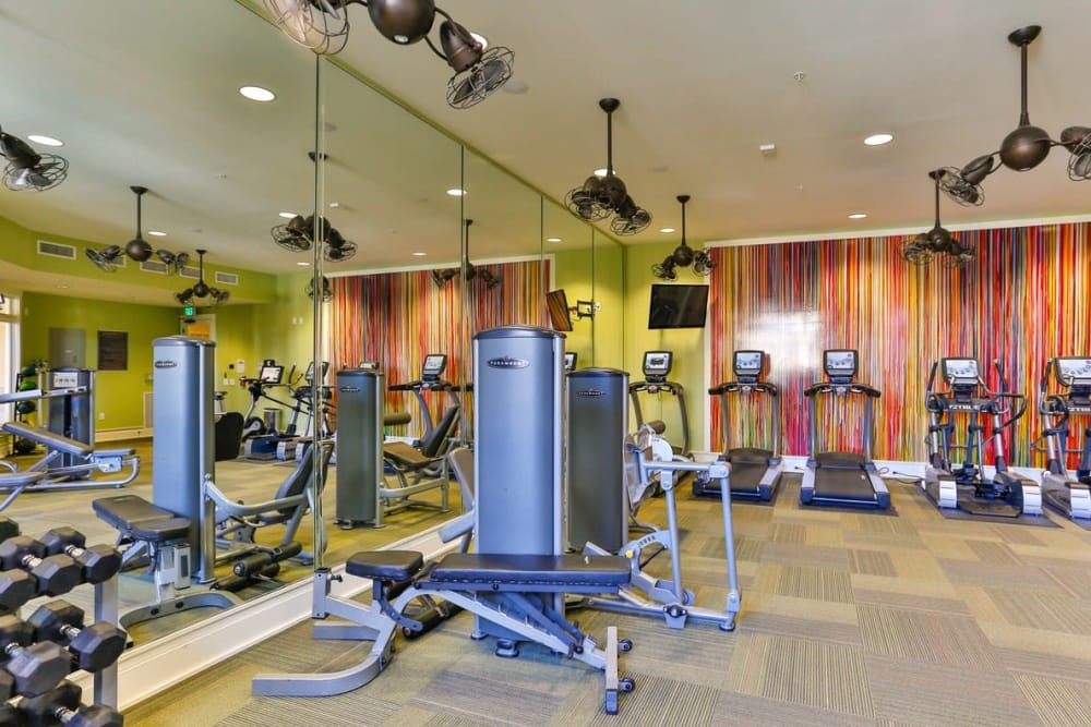 Modern fitness center at Fountains at Mooresville Town Square in Mooresville, North Carolina