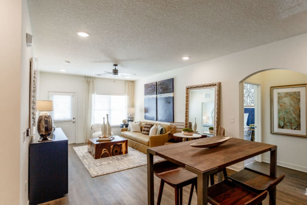 Open-concept living area in a model home at Springfield Apartments in Murfreesboro, Tennessee