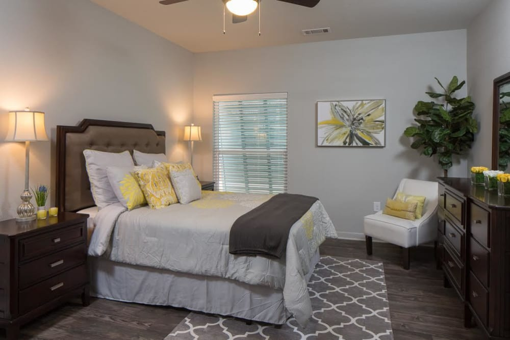 Spacious bedroom at West Woods Apartments in Pensacola, Florida