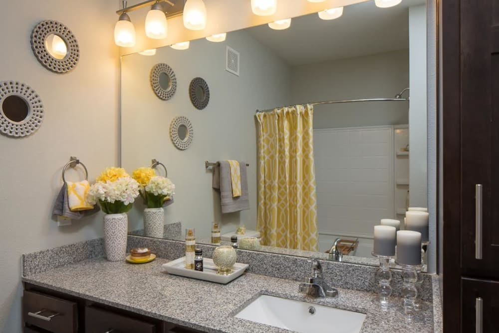Large vanity in the bathroom at West Woods Apartments in Pensacola, Florida