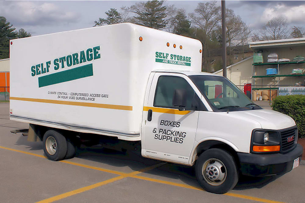 Moving truck at Prime Storage in North Grafton, Massachusetts