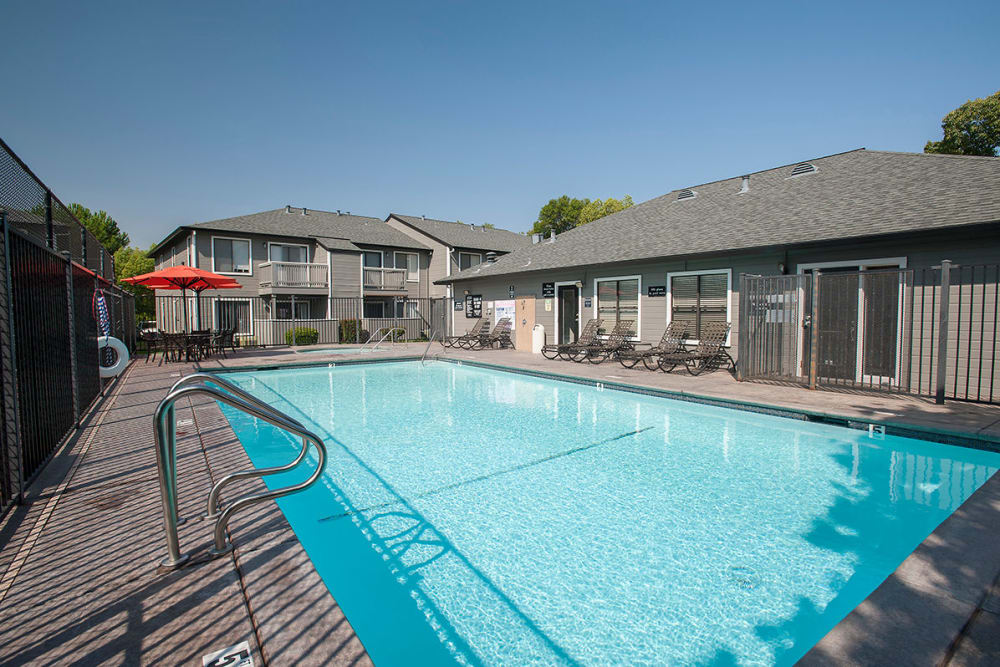 Resort-style swimming pool at Sandpiper Village Apartment Homes in Vacaville, California
