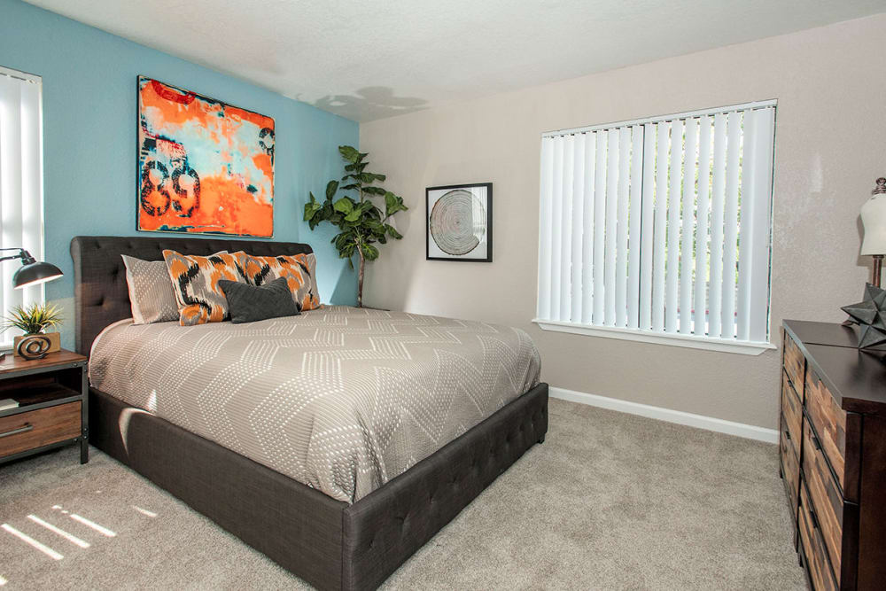 Comfortable bedroom in our Vacaville, CA apartments