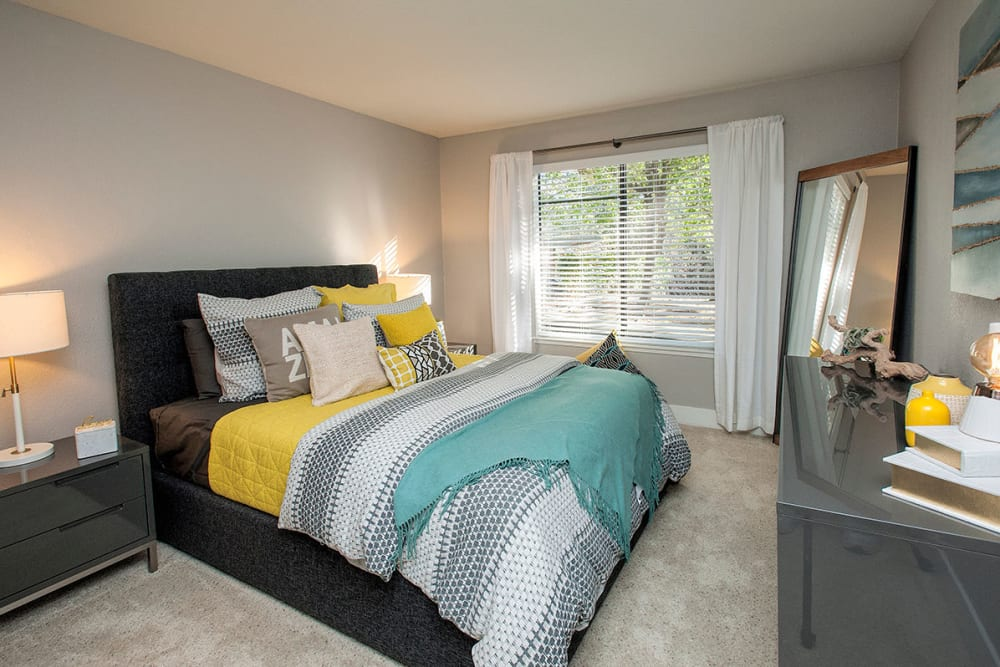 Well-decorated bedroom at Slate Creek Apartments in Roseville, California