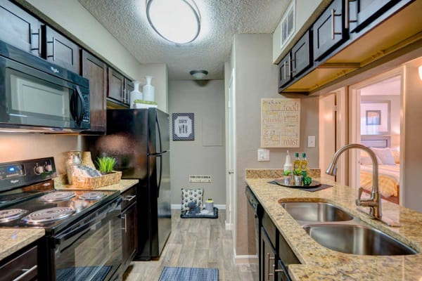 Model kitchen at Preserve at Wells Branch in Austin, Texas