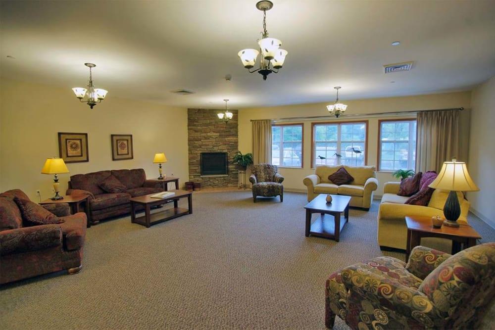 Spacious sitting room at Milestone Senior Living in Rhinelander, Wisconsin.