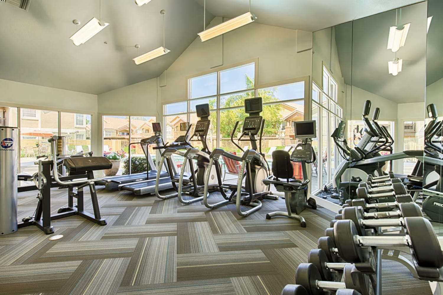Enjoy an onsite fitness center at Sonoran Vista Apartments in Scottsdale, Arizona