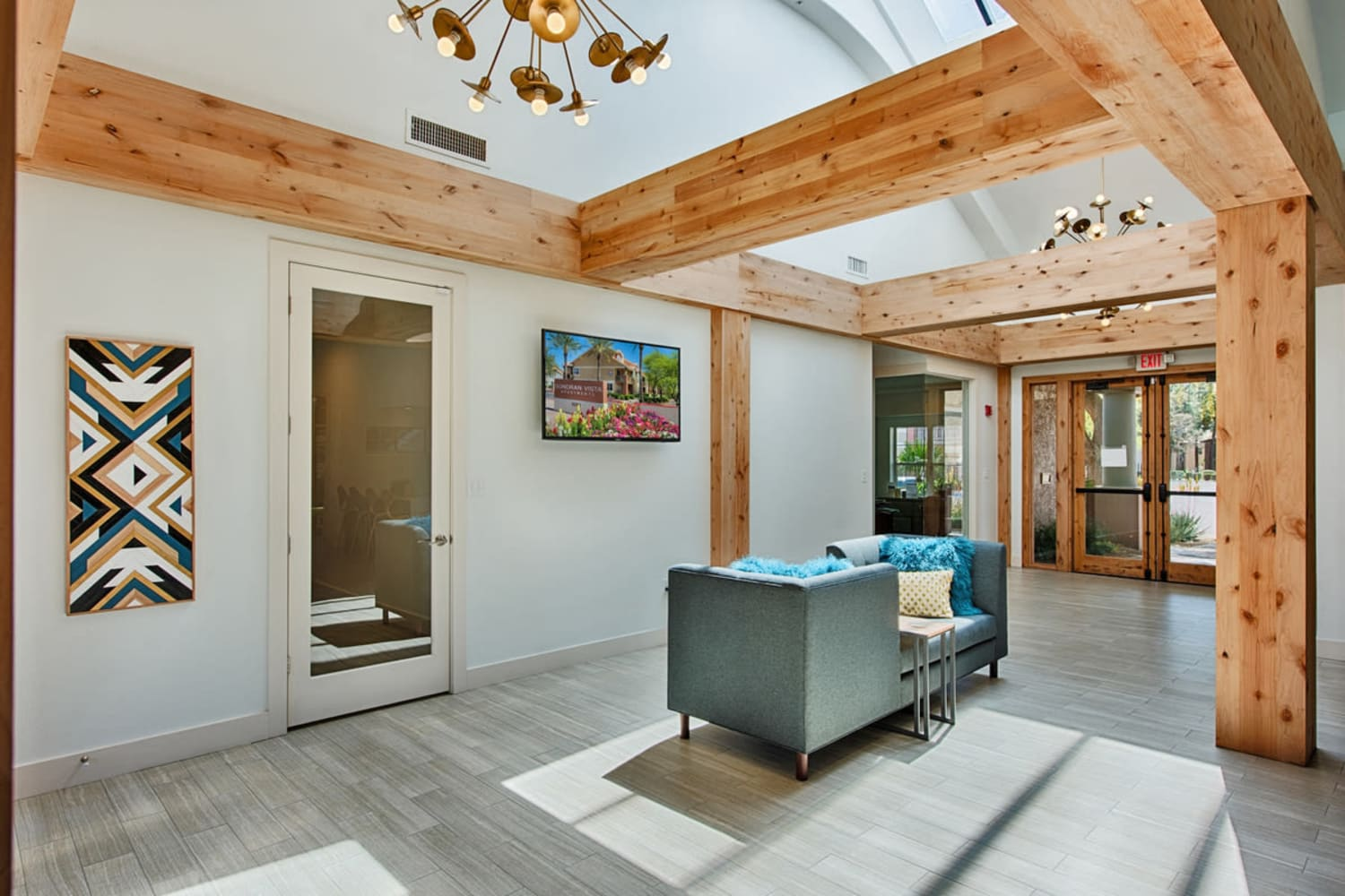 Wooden beams add an architectural touch to the clubhouse at Sonoran Vista Apartments in Scottsdale, Arizona